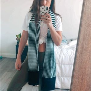 Black and White Striped Guess Scarf
